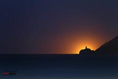 Torre del Pirulico (Jose M. Peral) Tags: sea costa luz horizontal azul contraluz noche mar cabo europa mediterraneo torre web negro verano naranja litoral oscuro airelibre espaa andaluca mojcar almera contaminacinlumnica