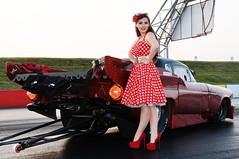 Holly_4695 (Fast an' Bulbous) Tags: girl woman car vehicle automobile hot sexy people outdoor drag strip race track santa pod england red dress shoes high heels stilettos stockings legs long hair beauty pose model polkadot hotty ford thunderbird supercharged 1955