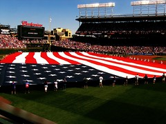 National Anthem (xraysarah85) Tags: city chicago baseball flag cubs wrigleyfield