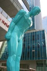 Bowing statue (Brian Aslak) Tags: city urban art statue asia turquoise korea seoul southkorea jongno bowing