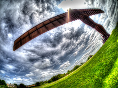 Angle of The North (RS400) Tags: uk england sky fish eye grass clouds wow newcastle landscape amazing cool angle north olympus east wicked