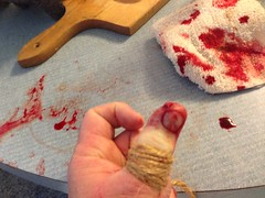 I cut the *#%@ out of my thumb. - h2039 (SouthernBreeze) Tags: red food white detail cooking apple kitchen flesh t hurt blood counter i5 cut beef knife injury story slice thumb series asada carne bleeding left iphone nopain tourniquet superglue southernbreeze 2013