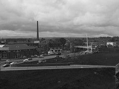 B&W - Carlisle Millennium Bridge and Dixons Chimney (penlea1954) Tags: uk bridge b roof chimney white house black view cathedral top w millennium cumbria carlisle dixons tullie