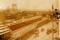 1888 view of the Sands St Terminal area in the Steam Era before the terminal building was erected in 1899 (mellowone_99) Tags: county st washington rr terminal kings brooklynbridge myrtle elevated 1888