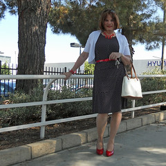 On the Paseo (krislagreen) Tags: black belt tv sweater pumps highheels dress cd hose tgirl transgender purse transvestite heels crossdresser crossdress tg cardi patent xdresser