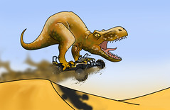 T-Rex on a Buggy (Drosophi|a) Tags: art illustration digital speed desert dinosaur awesome dune rawr rex buggy roar epic trex tyrannosaurus