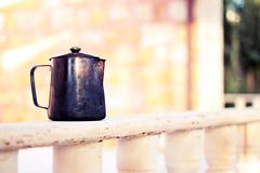 17-365 (redaleka) Tags: old light food hot abandoned coffee metal stone wall bench focus exposure break dof tea drink bokeh amman jordan textures pot kettle monday homepicnic