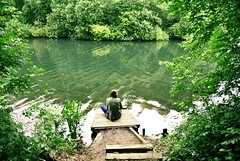 Untitled (coracies) Tags: park trees lake reflection water girl reflecting pier fishing pond friend sitting ripple platform chorlton mersey