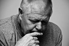 Pondering (LongInt57) Tags: old people bw white man black men person grey mono gray thinking aged retired seniors