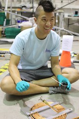 "Ed glues a cryo boil-off heat exchanger • <a style=""font-size:0.8em;"" href=""http://www.flickr.com/photos/27717602@N03/9542559590/"" target=""_blank"">View on Flickr</a>"