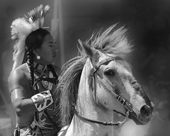 Warrior Spirit  (Explored) (misst.shs) Tags: portrait blackandwhite horse appaloosa nikon nativeamerican rider powwow postfalls northidaho julyamsh warror d7000
