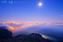 By the Light of the Silvery Moon (Della Huff Photography) Tags: sanfrancisco california bridge sunset usa moon fog bestof marin foggy goldengatebridge moonrise goldengate headlands marinheadlands ggnra goldengatenationalparks ggb lowfog