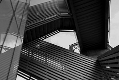 StaircaseB+W (samuelbowman) Tags: city white abstract black art stairs contrast yard downtown sam district ks rail kansas kc railyard bowman