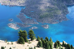 Blue water and islands (rozoneill) Tags: park lake oregon forest river hiking mount national crater rogue siskiyou thielsen wsweekly48