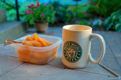 Patio Livin' (imageClear) Tags: flowers summer food house home cup coffee closeup fruit wisconsin garden living photo nikon flickr afternoon image coffeecup bricks picture patio mug lovely sheboygan planter photostream cantaloupe 18200mm lifestylephotography easylivin d7000 imageclear