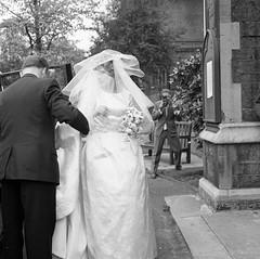 Wedding Dress (vintage ladies) Tags: wedding portrait people blackandwhite man vintage groom bride 60s bridesmaids 60swedding 60swoman 60slady