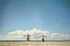 , (Benedetta Falugi) Tags: blue sea summer men film beach analog 35mm walking fuji superia carry benedettafalugi wwwbenedettafalugicom