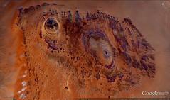Southern Algeria - Crescent Moon Mounds (extramatic) Tags: moon sahara rock ancient horus mound googleearth formations rockformations hathor earthworks geoglyphs saharadesert geoglyph seax ancientearthworks