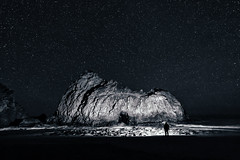 A Night with Pfeiffer (Silent G Photography) Tags: ocean california longexposure nightphotography portrait people blackandwhite seascape monochrome stars landscape df arch bigsur wideangle pch highway1 pacificocean adobe astrophotography nik centralcoast keyhole pfeiffer pfeifferbeach pacificcoasthighway 2013 niksoftware vsco markgvazdinskas silentgphotography vscocam silentgphoto nikondf