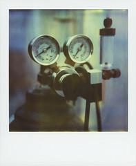 Under Pressure, Cherrystone Aqua Farms (Rhiannon Adam) Tags: usa america polaroid sx70 virginia lab dial science equipment timezero expiredfilm pressureguage integralfilm cherrystoneaquafarm oysterandclamfarm