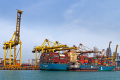 Port of Singapore (spintheday) Tags: sea industry water harbor ship crane transport cargo storage container transportation shipyard shipping trade carrier global logistics export delivering unloading portofsingapore