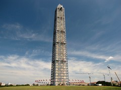 Washington Monument in scaffolding, viewed from the southwest (SchuminWeb) Tags: park southwest west monument metal stone mall dc washington earthquake construction day scaffolding ben nps stones district steel web south parks columbia september national repair obelisk damage restored scaffold service restoration daytime obelisks monuments washingtonmonument nationalparkservice georgewashington restoring scrim 2013 schumin schuminweb
