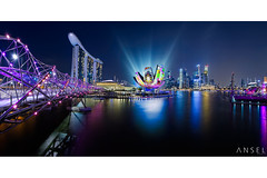 ILight 2014 (draken413o) Tags: travel bridge panorama festival skyline night marina bay 3d singapore asia long exposure vibrant cityscapes fisheye projection helix sands mapping destinations ilight