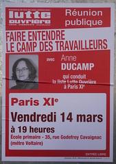Runion publique avec Anne Ducamp (emmanuelsaussieraffiches) Tags: poster political politique affiche lutteouvrire
