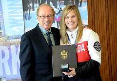 The Jennifer Jones curling rink was honoured at Winnipeg City Hall by Mayor Sam Katz and the Royal Canadian Mint. Jones and her team from the St. Vital Curling Club won gold at the Sochi 2014 Winter Olympics after going undefeated - March 13, 2014 (manitobaphotos.com) Tags: winnipeg manitoba olympics goldmedal curling sochi jenniferjones