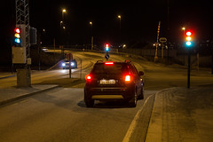 Who's allowed to drive? (jankurtjohansen) Tags: road city longexposure light trafficlights cars night canon eos narvik 1100d northennorway sjbakken
