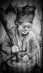 Woman at work (wowiliba) Tags: drawing picture drawn chiangrai scetch uploaded:by=flickrmobile flickriosapp:filter=nofilter
