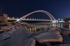 Ice Flow @ Humber Bay Arch Bridge (B.E.K.) Tags: bridge winter snow toronto ontario canada ice water night stars arch humberbay nikond600 nikkor1735