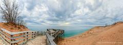 Lake Michigan ... sunset from #9 (Ken Scott) Tags: sunset panorama usa spring cloudy michigan lakemichigan greatlakes april freshwater voted observationdeck 2014 leelanau 45thparallel piercestockingscenicdrive fhdr stop9 sbdnl sleepingbeardunenationallakeshore mostbeautifulplaceinamerica overlook9