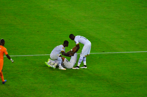 Andre Ayew is inconsolable after Ghana's defeat on penalties to Ivory Coast