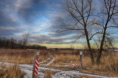 TichiganWildlifeArea (jmishefske) Tags: blue trees sunset sky nature field sign wisconsin clouds corn nikon state wildlife january meadow farmland area marsh 2015 dnr designated tichigan d800e