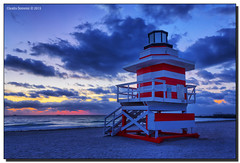 Breaking Dawn in South Beach (Fraggle Red) Tags: lighthouse clouds dawn moving twilight florida jetty earlymorning breeze miamibeach southbeach hdr lifeguardstand southpointe lifeguardhut 7exp higheriso freezemovement canonef1635mmf28liiusm miamidadeco dphdr