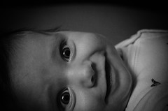 P365/42. (Pics by Susanna) Tags: blackandwhite bw baby smile face blackwhite lowkey day42 babyportrait day42365 365the2015edition 3652015 11feb15