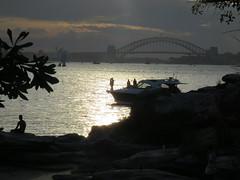 sunset kiss (sabinakurt62) Tags: ocean autumn sunset sea people beach beautiful canon boat kiss couple sydney australia powershot harbourbridge theoperahouse