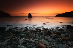Rohscoyln Sea Stack (Dave Holder (Catching Up)) Tags: uk longexposure sunset sea seascape water wales landscape coast rocks waves anglesey leefilters canon70d rohscoyln