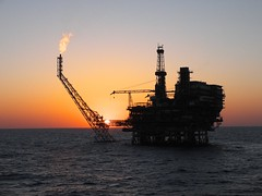 sunset at platform (thulobaba) Tags: sunset industry night energy offshore platform gas flame jacket flare oil derrick drilling