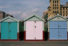 Beach Huts (pp agrippa) Tags: england film sussex analogue beachhuts 45mm planar carlzeiss contaxg1 brightonandhove portra160 pastal realraw