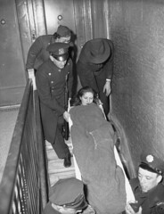 """A woman is carried out of the raided apartment of an abortion doctor. Detectives surprised Dr. Louis Solomon in the midst of the operation. When apprehended, he said, calmly, """"I'll be with you in a moment, gentlemen."""" Brooklyn, 1944 [736 x 960] #HistoryPo (Histolines) Tags: woman history brooklyn out louis is with apartment you dr x an retro abortion doctor when be timeline surprised said moment he operation solomon 1944 carried detectives 960 736 midst vinatage raided calmly a """"i'll apprehended historyporn gentlemen"""" histolines httpifttt1ziug7m"""