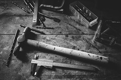 In The Tool Shed Pt. 2 (D-Noc) Tags: blackandwhite monochrome hammer denmark tools danmark lightroom drills jylland caliper nordjylland canon24105mmf4lis canoneos6d