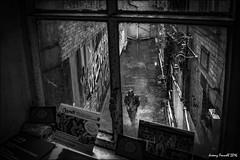 On an Island (zolaczakl ( 2 million views, thanks everyone)) Tags: bristol bristolinmonochrome mono monochrome blackandwhitebristol blackandwhite theisland phototakenthroughawindow figures rain uk england southwest streetart graffiti photographybyjeremyfennell nikond7100 june 2016 sigma1835mmf18dchsmlens bridewellst oldpolicestation artsfacility