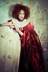 Feathers appear when angels are near (The Green Album) Tags: red woman beauty fashion hair model shoot kim circus feathers makeup flame angels experience editorial cape bodice ruff fse choker nationaltheatre stylist ruffled missaniela gracegray davidnoble natachamarro dellareed