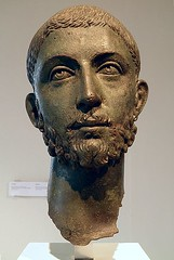 Ancient Rome. Head from a bronze statue of the Roman emperor Alexander Severus (222-235 AD), from Ryakia, Archaeological Museum, (mike catalonian) Tags: sculpture statue bronze head emperor ancientrome 3rdcenturyad alexanderseverus