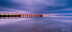 Dusk at the Jetty (Garry - www.visionandimagination.com) Tags: panorama reflection canon australia symmetry qld stitched wellingtonpoint tse24mmf35lii eos1dx thisisqueensland