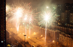 Fireworks and Smoke in the Streets of Beijing (Andy Brandl (PhotonMix.com)) Tags: street lights nikon fireworks smoke beijing newyear cny fountains sparks photonmix elevatedpov