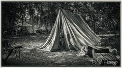 Wedge In The Woods (dougkuony) Tags: camp blackandwhite bw monochrome mono fortatkinson hdr rendezvous highplains fortatkinsonstatehistoricalpark highplainsregionalrendezvous