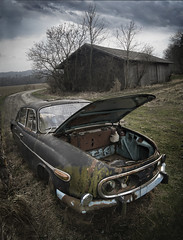 Dead End (Ulvraith) Tags: old abandoned field car clouds barn republic czech sony rusty poland weathered tatra 603 a500